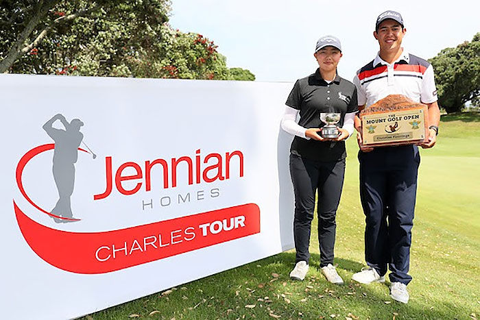 Fiona Xu and Denzel Ieremia winners of the Christies Floorings Mount Open on the Jennian Homes Charles Tour (NZ Golf)