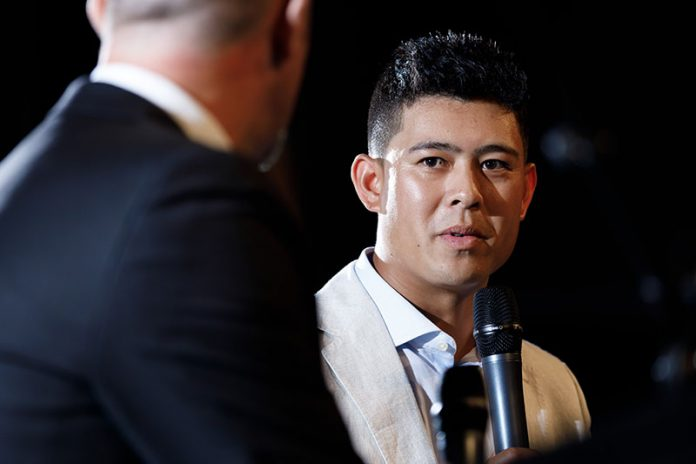 Denzel Ieremia speaking at the 2019 Brian Perry Waikato Regional Sports Awards is the official title. Photo: Mike Walen (Key Imagery)