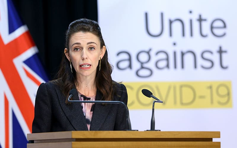 Prime Minister Jacinda Ardern speaks to media during a press conference at The Beehive in Wellington, New Zealand. (Photo by Hagen Hopkins/Getty Images)