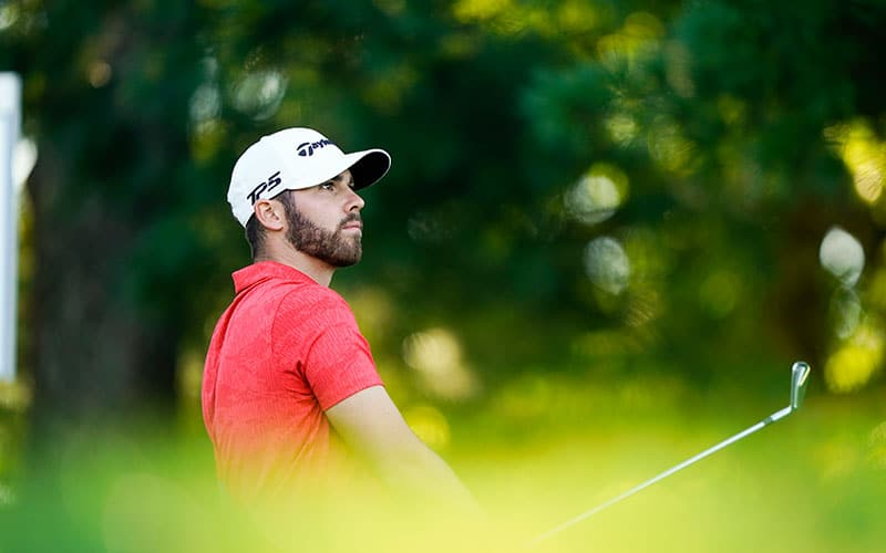 Matthew Wolff tees off on the 11th hole during the third round at the 2020 U.S. Open at Winged Foot Golf Club (West Course) in Mamaroneck, N.Y. on Saturday, Sept. 19, 2020. (Darren Carroll/USGA)