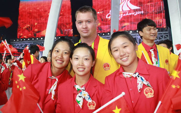 Gareth Winslow with the Chinese Women's Golf Team at the 2010 Asian Games where they came second to South Korea.