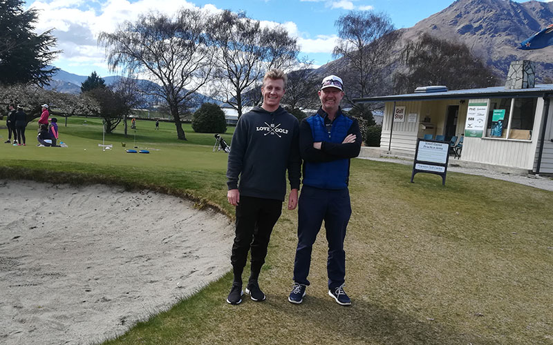 Manager of Frankton Golf Centre, Jamie McIsaac from Inspire Golf(right) with James Anstiss.