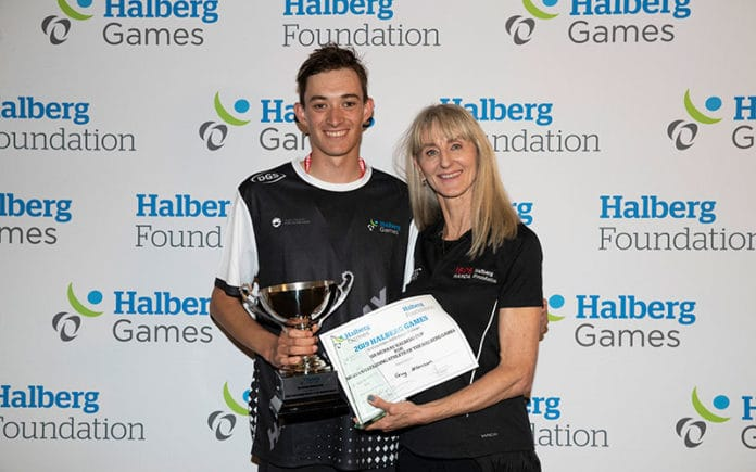 Sir Murray Halberg Cup for Most Outstanding Athlete winner Guy Harrison (Hawke's Bay) with Halberg Foundation CE Shelley McMeeken at the 2019 Halberg Games Closing Ceremony