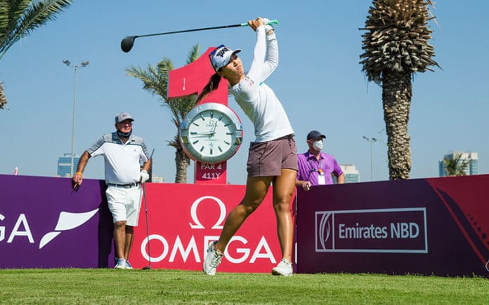 Lydia Ko tees off in the Ladies European Tour 2020 Omega Dubai Moonlight Classic at Emirates Golf Club, (Tristan Jones/LET)