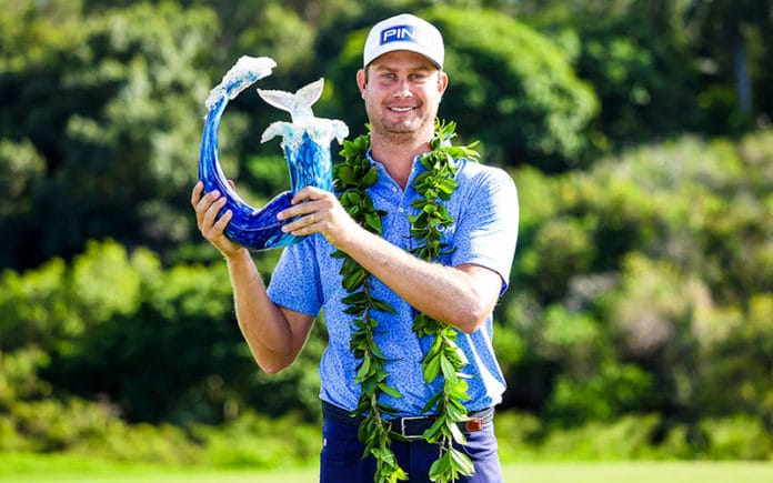 Harris English poses with the trophy after winning the Sentry Tournament Of Champions at the Kapalua Plantation Course in Kapalua, Hawaii. (Photo by Gregory Shamus/Getty Images)