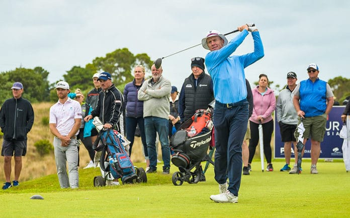 James Anstiss on the 12th tee in the final round of the Victorian PGA at Moonah Links. Photo: PGA of Australia