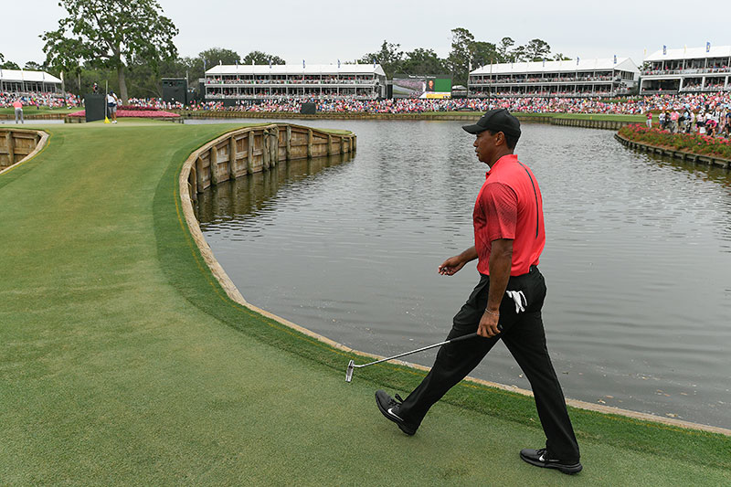 Tiger Woods walks onto the 17th green during the final round of THE PLAYERS Championship on THE PLAYERS Stadium Course at TPC Sawgrass on May 13, 2018, in Ponte Vedra Beach . (Photo by Stan Badz/PGA TOUR)