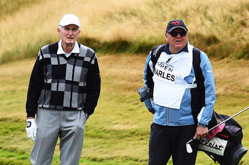 """Sir Bob Charles and Michael Glading during the Par 3 Champions at the """"Farm"""" during 100th New Zealand Golf Open. The Hills, Arrowtown. New Zealand. Thursday 28 February 2019. ©Copyright Photo: Chris Symes / www.photosport.nz"""