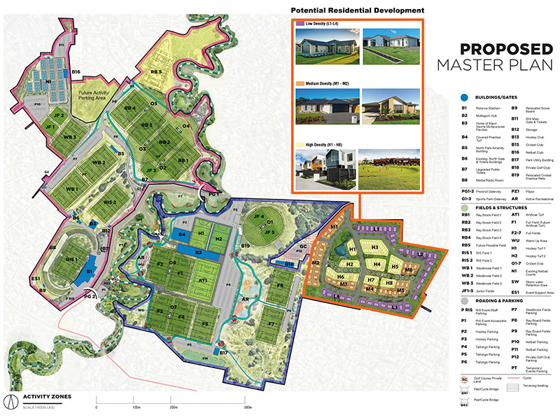 Springfield Golf Course currently sits within the Blue and Orange areas of this map. (Westbrook Sport and Recreation Precinct - Taiwhanga Rotorua - concept map)