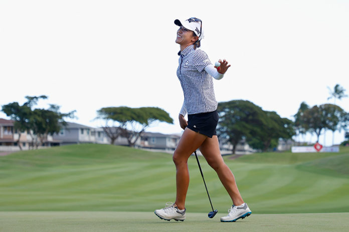 Lydia Ko reacts after her final putt on the 18th green to win the LPGA LOTTE Championship at Kapolei Golf Club on April 17, 2021 in Kapolei, Hawaii. (Photo by Christian Petersen/Getty Images)