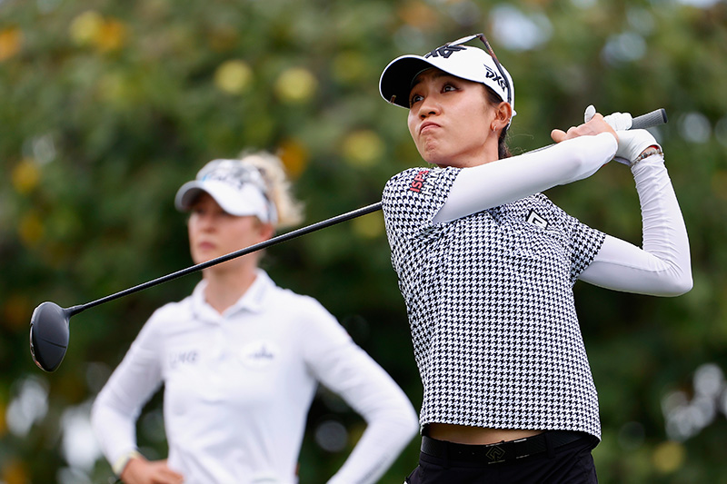 Lydia Ko plays a tee shot on the third hole during the final round of the LPGA LOTTE Championship at Kapolei Golf Club on April 17, 2021 in Kapolei, Hawaii. (Photo by Christian Petersen/Getty Images)