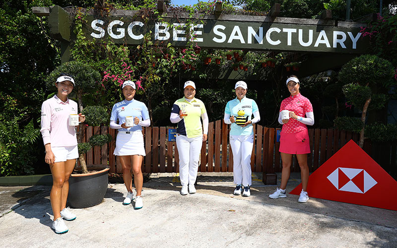 (L-R) Lydia Ko, Minjee Lee, Inbee Park, Jin Young Ko and Georgia Hall visit Sentosa Golf Club's Bee Sanctuary ahead of HSBC Women's World Championship Singapore (Getty Images)