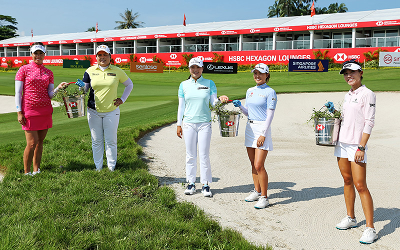 (L-R) Georgia Hall, Inbee Park, Jin Young Ko, Minjee Lee and Lydia Ko take time out to support Sentosa Golf Club's environmental sustainability efforts (Getty Images)
