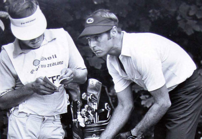 John Lister & caddy Bruce Young competing in a NZ event in the mid 1970's