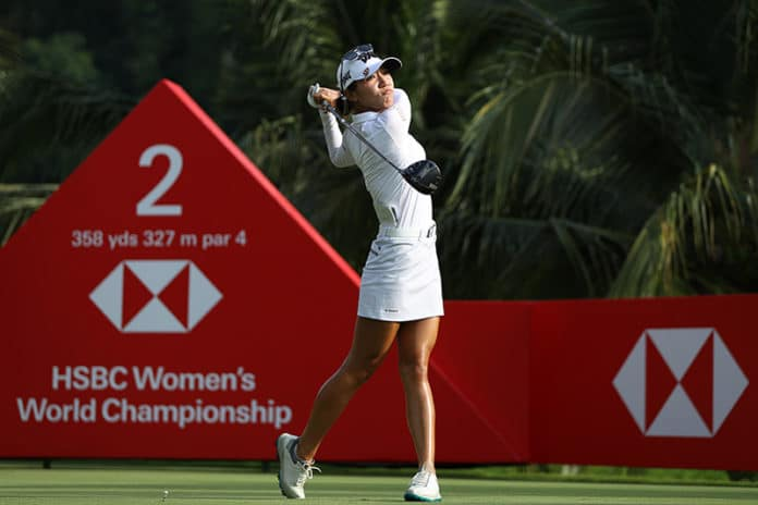 Lydia Ko hits her tee shot on the 2nd hole during the HSBC Women's World Championship at Sentosa Golf Club in Singapore. (Photo by Lionel Ng/Getty Images)