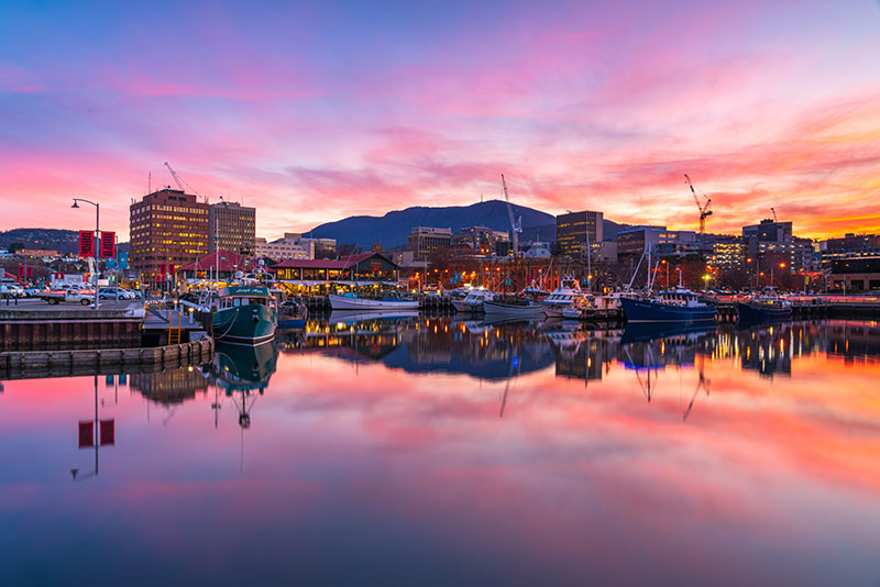Hobart waterfront at sunset (Photo: Luke Tscharke)