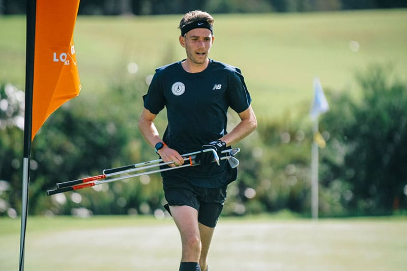 Jamie Reid competing at the 2021 NZ Speegolf championship (Photo: Mike Hadnett, Golf NZ)