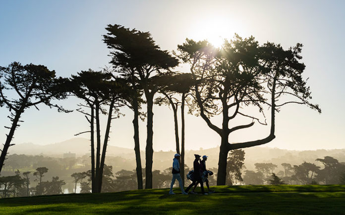 Jessica Korda walks down a fairway during a practice round at the 2021 U.S. Women's Open at The Olympic Club in the San Fran, Calif. on Monday, May 31, 2021. (Copyright USGA/Jeff Marsh)
