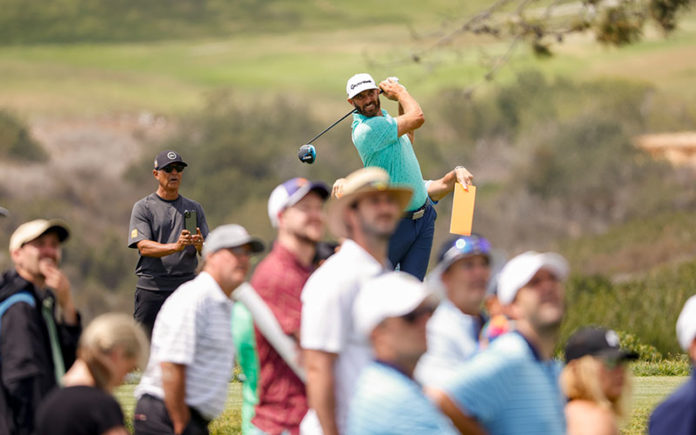 Dustin Johnson plays his tee shot on the fifth hole during a practice round at the 2021 U.S. Open at Torrey Pines Golf Course in San Diego, Calif. on Wednesday, June 16, 2021. (Jeff Haynes/USGA)