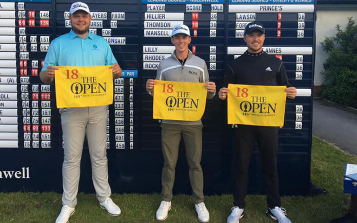 Daniel Hillier (Centre) qualifies for The Open alongside fellow qualifiers Jonathan Thomson and Richard Mansell. (Facebook)