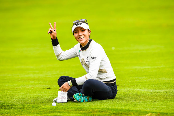 Lydia Ko waves from the 11th hole during a practice round at the 2021 U.S. Women's Open at The Olympic Club in San Francisco, Calif. on Wednesday, June 2, 2021. (Robert Beck/USGA)