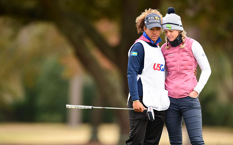 Golf - Amy Olson (R) stands with caddie Taneka Sandiford at the 2020 U.S. Women's Open (Image: USGA/Robert Beck)