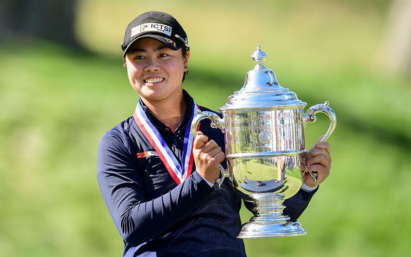 Yuka Saso poses with the trophy after winning the 2021 U.S. Women's Open on the third playoff hole at The Olympic Club in San Francisco, Calif. on Sunday, June 6, 2021. (Robert Beck/USGA)