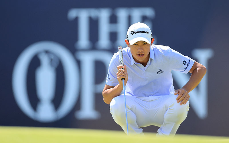 Collin Morikawa of lines up a putt on the 18th hole during Day Two of The 149th Open at Royal St George's Golf Club in Sandwich, England. (Photo by David Cannon/R&A/R&A via Getty Images)