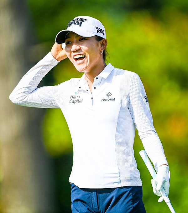 Lydia Ko laughs during the Pro-Am prior to the start of the The Amundi Evian Championship at Evian Resort Golf Club on July 21, 2021 in Evian-les-Bains, France. (Photo by Stuart Franklin/Getty Images)