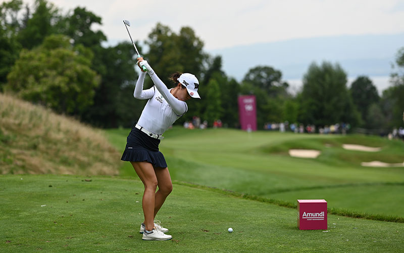 Lydia Ko plays her tee shot on the 14th hole during day three of the The Amundi Evian Championship at Evian Resort Golf Club. (Photo by Stuart Franklin/Getty Images)