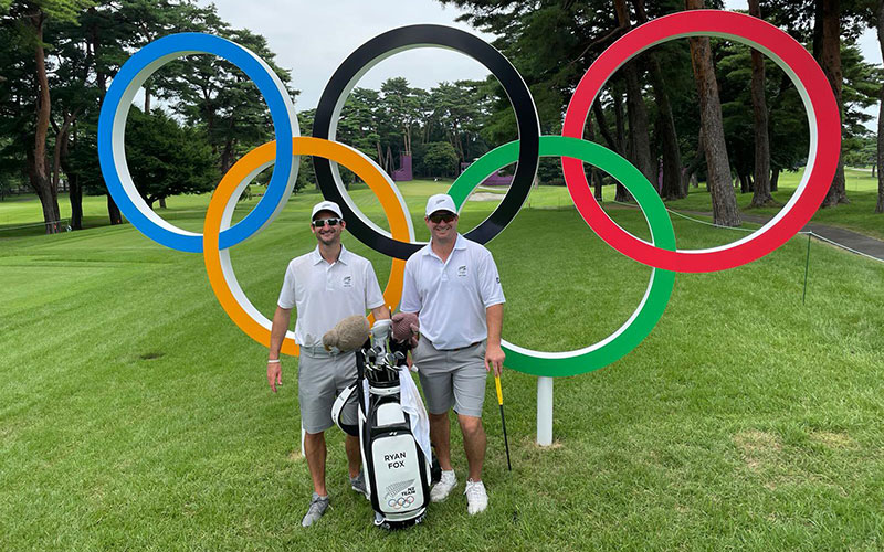Ryan Fox and his caddy at the Kasumigaseki Country Club (Facebook)
