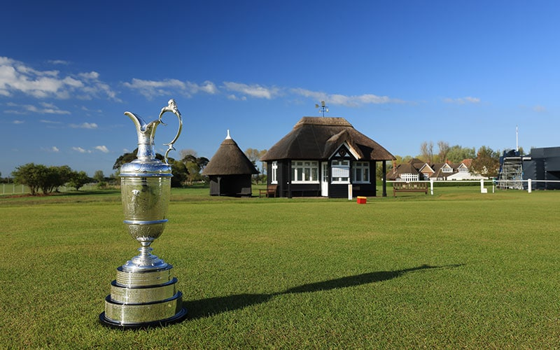 The Claret Jug photographed on the first tee at the host venue for the The Open Championship to be held at Royal St George's Golf Club on May 18, 2021 in Sandwich, England. (Photo by David Cannon/R&A/R&A via Getty Images)