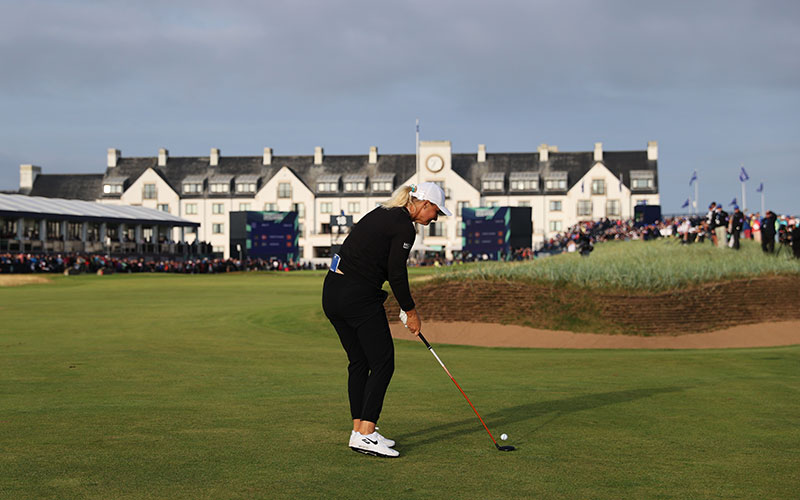 Anna Nordqvist of Sweden plays a shot on the eighteenth hole during Day Four of the AIG Women's Open at Carnoustie Golf Links on August 22, 2021 in Carnoustie, Scotland. (Photo by Warren Little/R&A/R&A via Getty Images)
