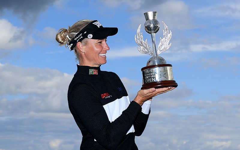 Ryann O'Toole of The United States poses with the trophy after her three shot win in the final round of the Trust Golf Women's Scottish Open at Dumbarnie Links on August 15, 2021 in Leven, Scotland. (Photo by David Cannon/Getty Images)