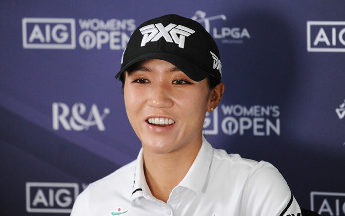 Lydia Ko of New Zealand talks during a press conference prior to the AIG Women's Open at Carnoustie Golf Links on August 17, 2021 in Carnoustie, Scotland. (Photo by R&A - Handout/R&A via Getty Images)