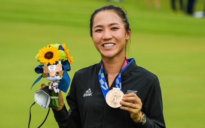Lydia Ko celebrates with the bronze medal at the Victory Ceremony after the final round of the Women's Individual Stroke Play event on Day 18 of the Tokyo 2020 Olympics at the Kasumigaseki Country Club on August 7, 2021 in Saitama, Japan. (Photo by Stan Badz/PGA TOUR/IGF)