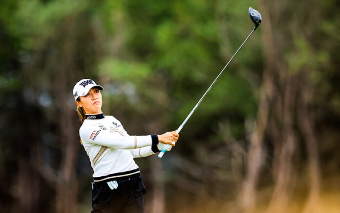 Lydia Ko plays her tee shot on the first hole during the final round where she shot a course record of the Trust Golf Women's Scottish Open at Dumbarnie Links on August 15, 2021 in Leven, Scotland. (Photo by David Cannon/Getty Images)