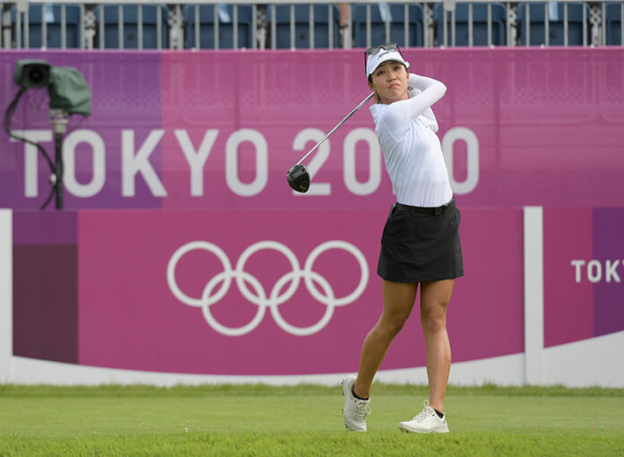 Lydia Ko of New Zealand plays a tee shot on the first hole during the first round of the Women's Individual Stroke Play event on Day 15 of the Tokyo 2020 Olympics at the Kasumigaseki Country Club on August 4, 2021 in Saitama, Japan. (Photo by Stan Badz/PGA TOUR/IGF)