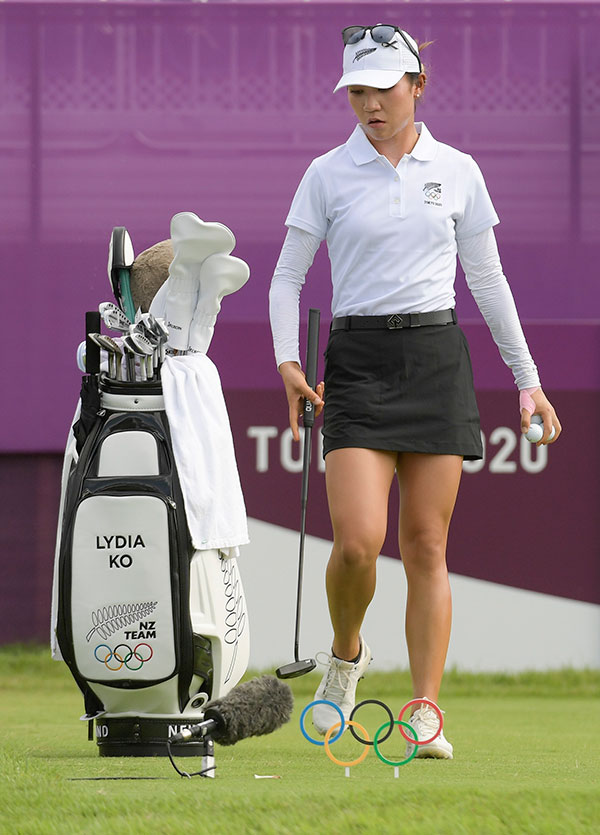 Lydia Ko of New Zealand approaches the first tee during the first round of the Women's Individual Stroke Play event on Day 15 of the Tokyo 2020 Olympics at the Kasumigaseki Country Club on August 4, 2021 in Saitama, Japan. (Photo by Stan Badz/PGA TOUR/IGF)